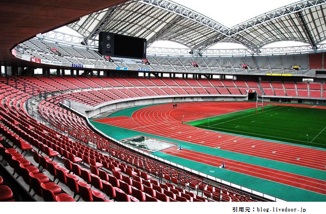 新潟スタジアム1階席からの眺め見え方