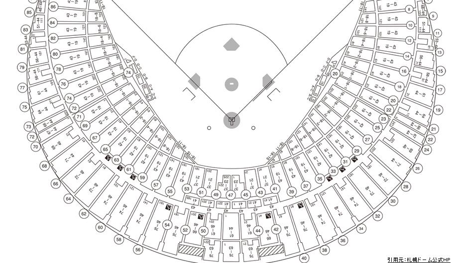 札幌ドーム座席表2階席