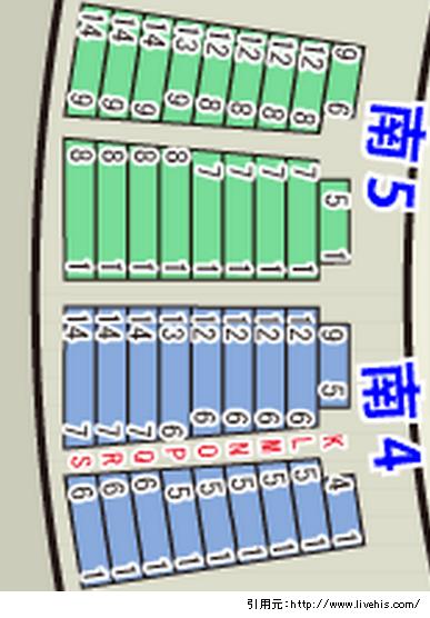 サンドーム福井2階席南5南4座席表
