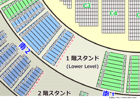 サンドーム福井座席表1階席南1南2北1北2配置や位置