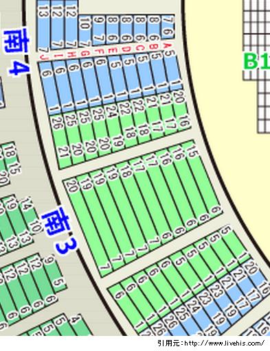 サンドーム座席表福井1階席南3南4北3北4位置や配置