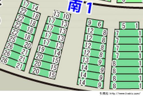 サンドーム福井座席表2階南1北1位置や配置