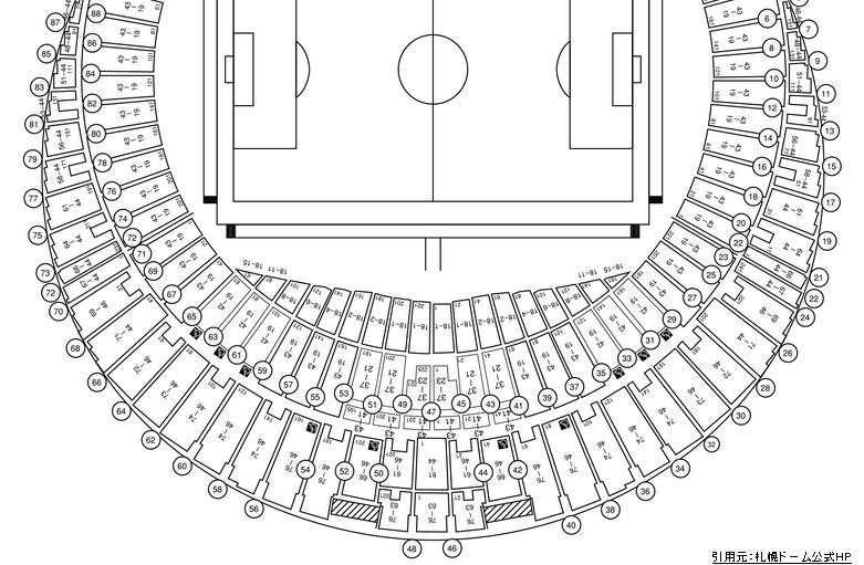 札幌ドーム座席表2階席スタジアム型